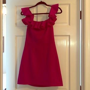 French Connection Magenta Ruffle Neck Dress